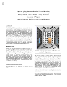 Quantifying Immersion in Virtual Reality