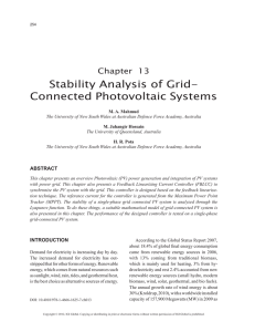 Stability Analysis of Grid- Connected Photovoltaic Systems