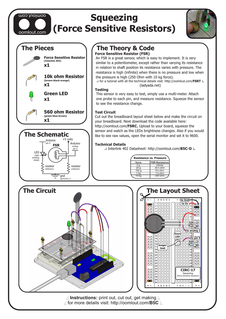 Squeezing (Force Sensitive Resistors)