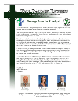 Message from the Principal - Holy Cross Catholic Secondary School