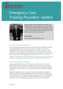 Emergency Care Training Providers` Update, 04/03/2016