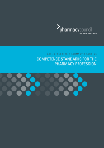 COMPETENCE STANDARDS FOR THE PHARMACY PROFESSiON