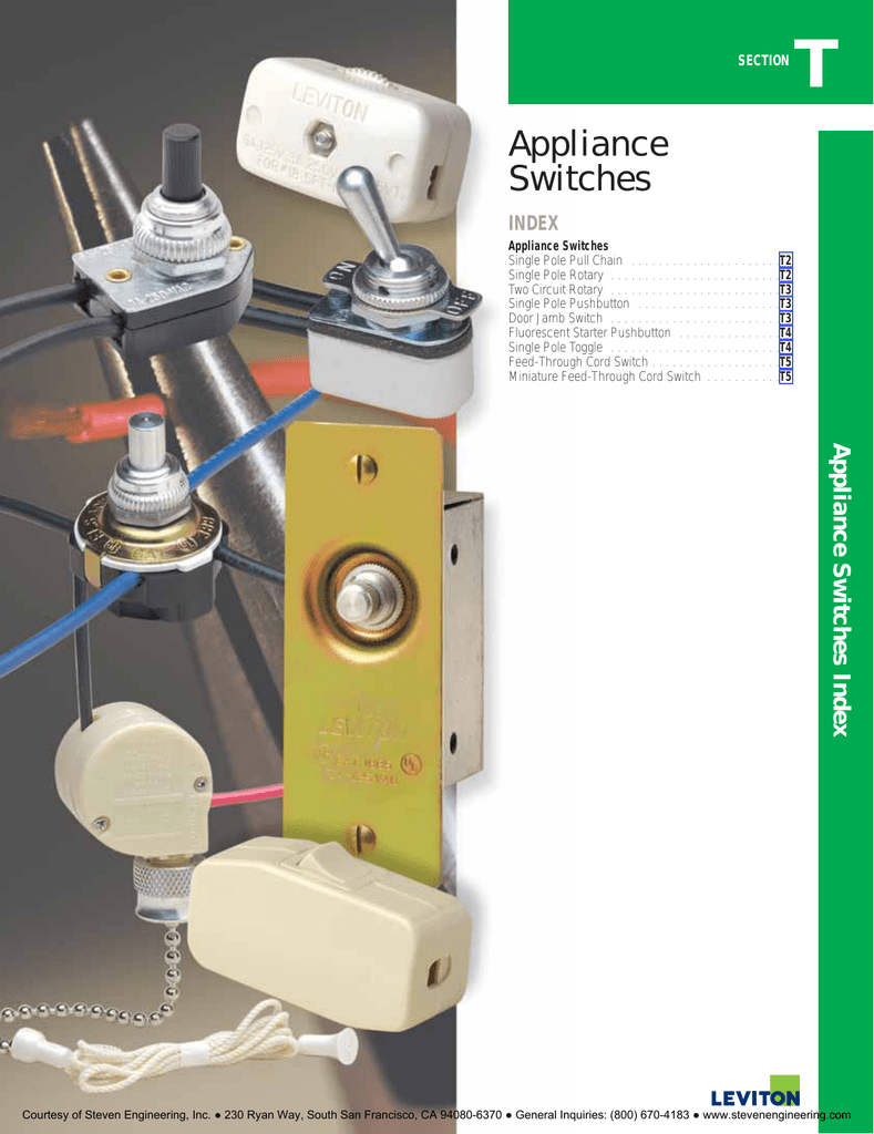 Appliance Switches Steven Engineering Commercial Single Pole Toggle Switch