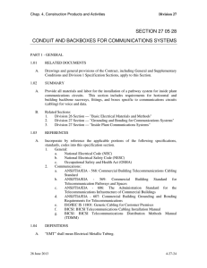 section 27 05 28 conduit and backboxes for communications systems
