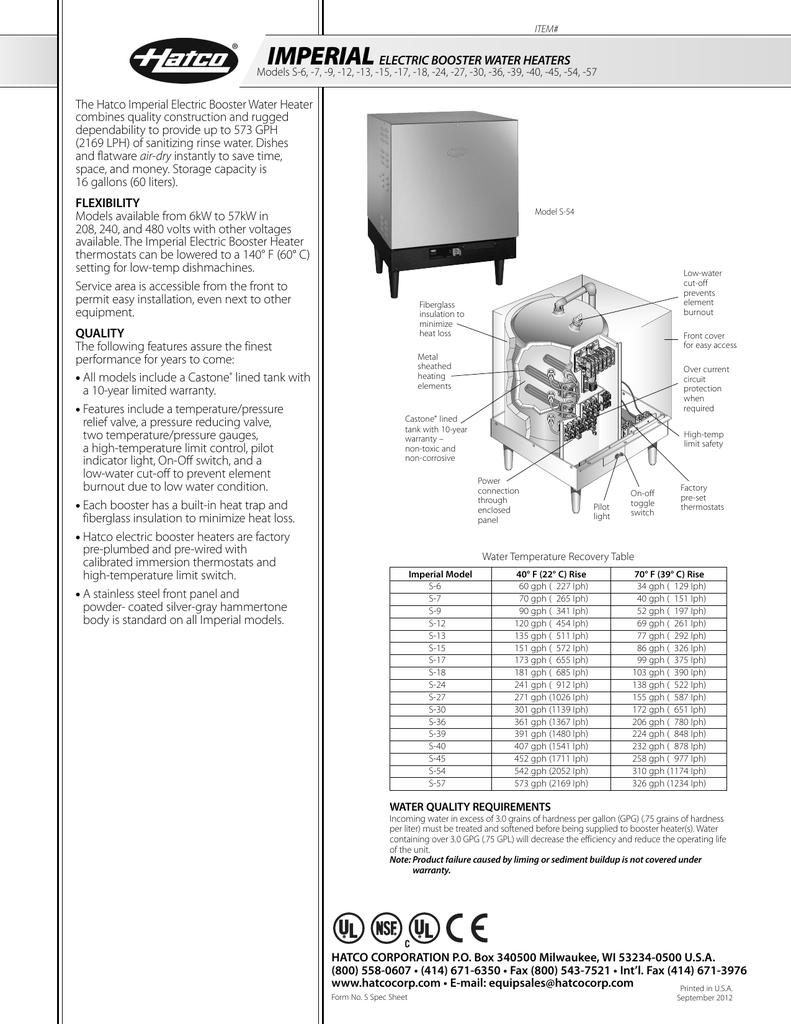 spec sheet rh studylib net hatco booster heater wiring diagram