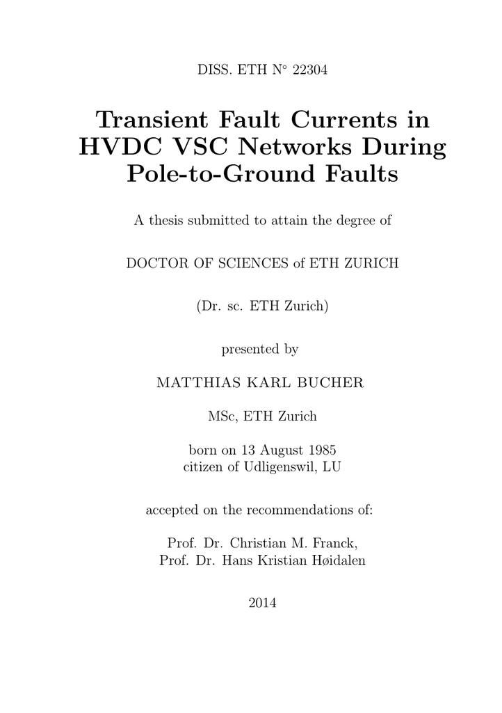Transient Fault Currents in HVDC VSC Networks - ETH E