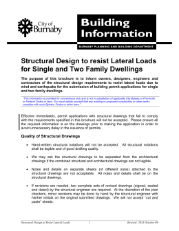Structural Design to Resist Lateral Loads for Single