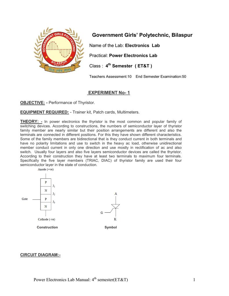 Power Electronics Lab Manual Scr Triggering Using Ujt