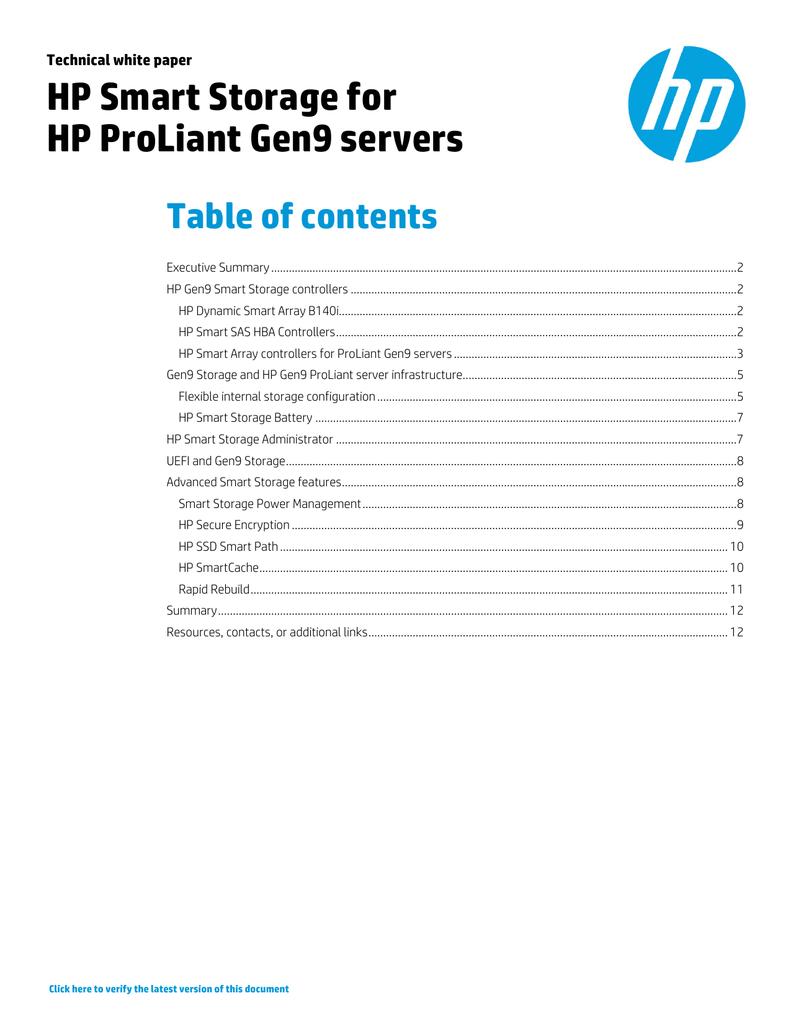 HP Smart Storage for HP ProLiant Gen9 servers