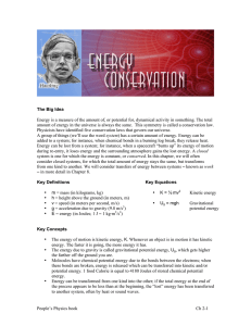 Ch 2: Energy Conservation