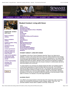 Student Conduct: Living with Honor