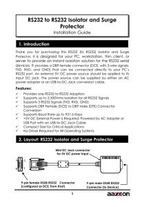 RS232 to RS232 Isolator and Surge Protector