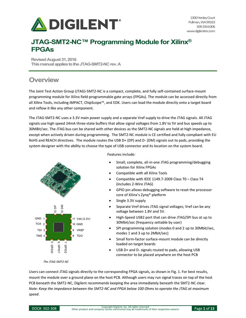 JTAG-SMT2-NC™ Programming Module for Xilinx® FPGAs Overview