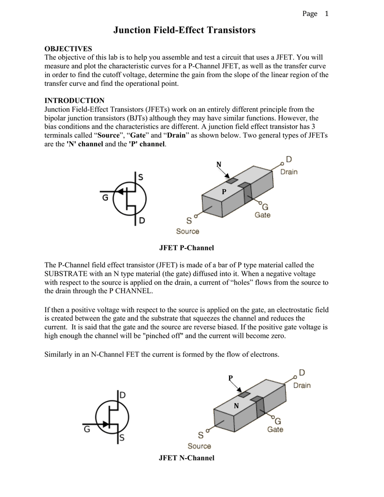 The Jfet Transistor Ryerson Department Of Physics Gate Circuit Using Bipolar Junction Transistors A Basic