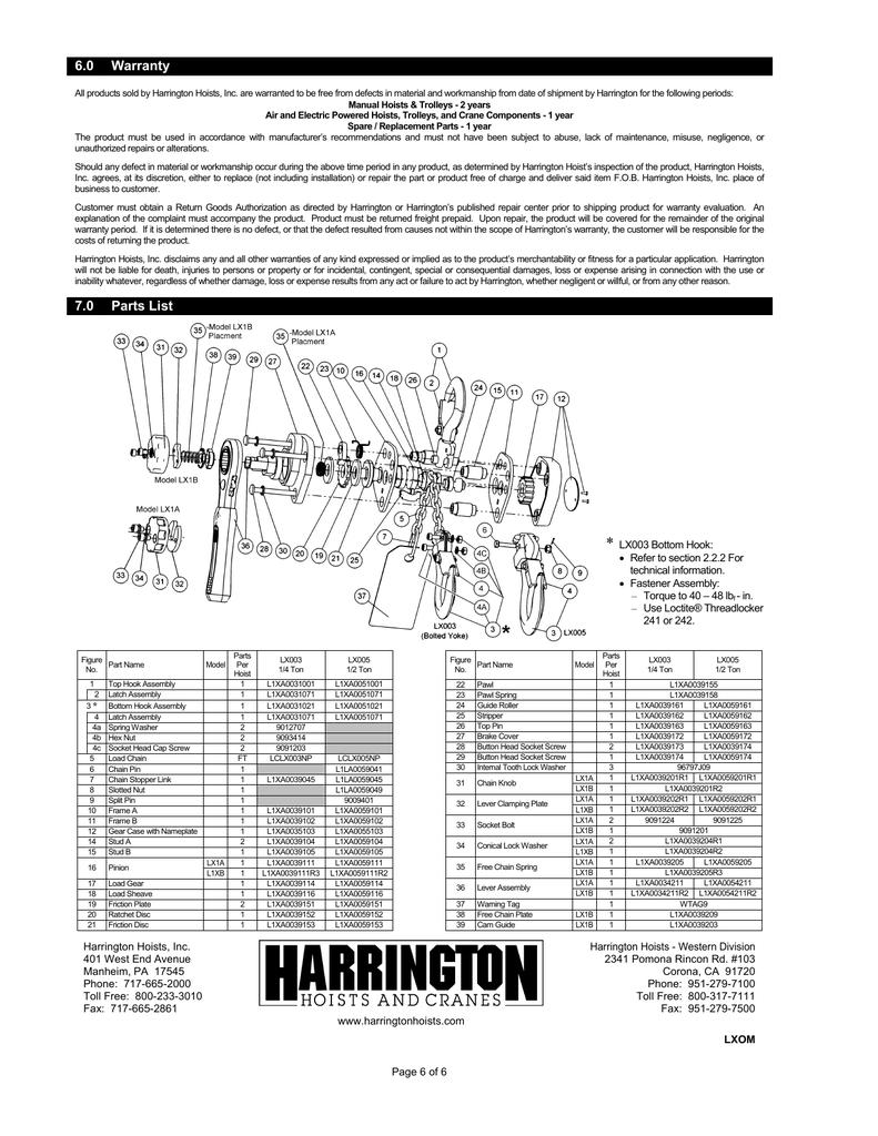 HARRINGTON L1XA0051001 Top Hook