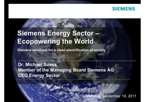 Presentation: Siemens Energy Sector – Ecopowering the World