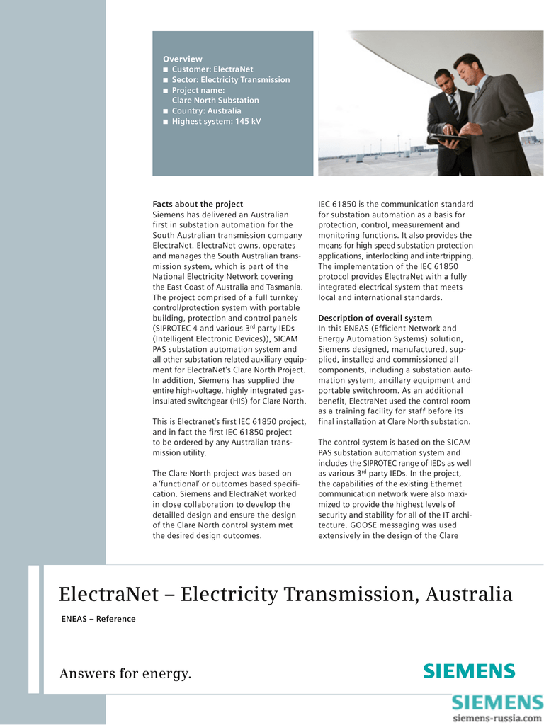 ElectraNet – Electricity Transmission, Australia
