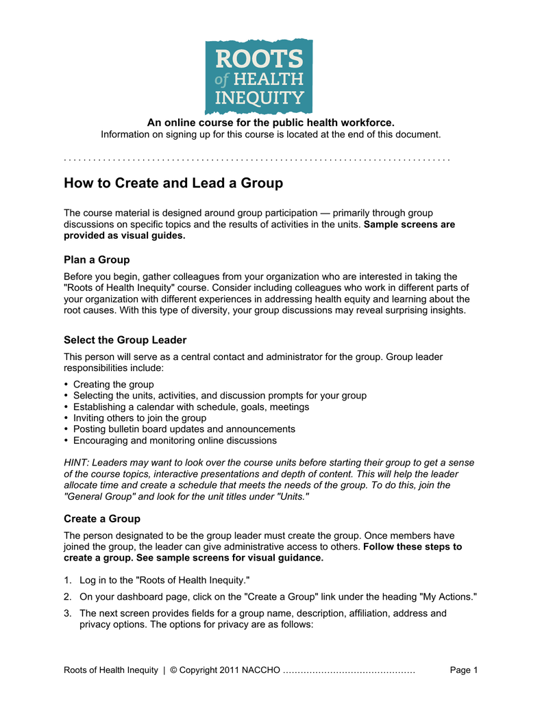 How to Create and Lead a Group