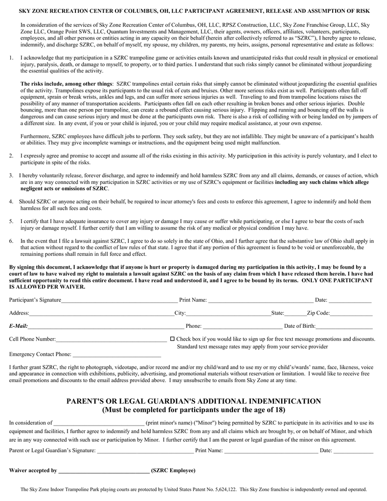 image about Skyzone Printable Waiver referred to as Dad or mum Waiver