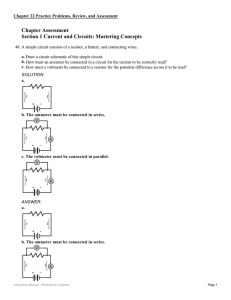 Chapter Assessment Section 1 Current and Circuits: Mastering