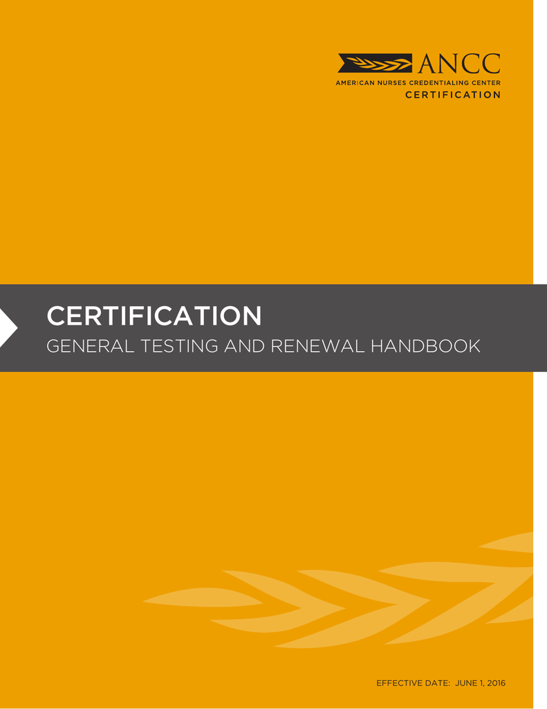 Certification General Testing and Renewal Handbook