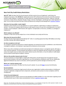 New York City Credit History Restrictions