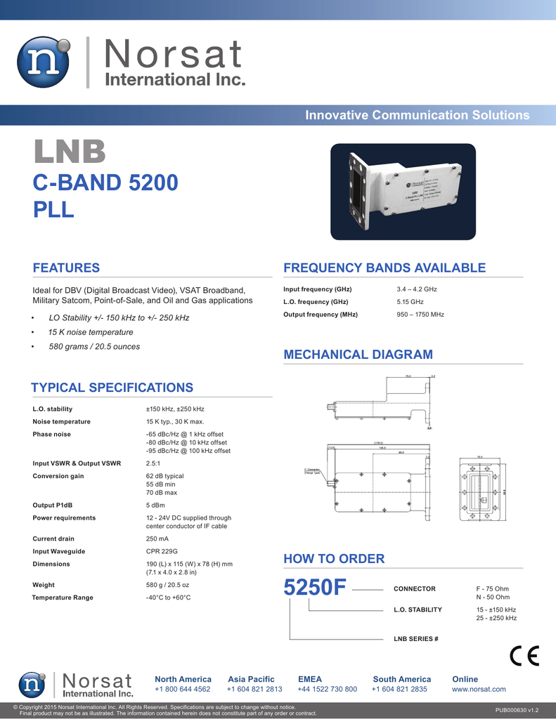 C Band 5200 Pll 5250f Norsat International Inc Lnb Circuit Diagram