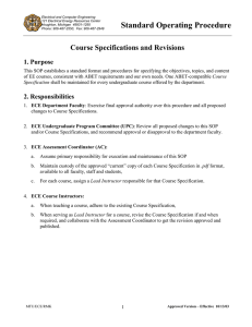 Standard Operating Procedure Course Specifications and Revisions
