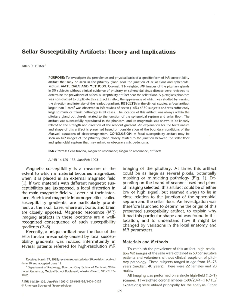 Sellar Susceptibility Artifacts Theory And Implications