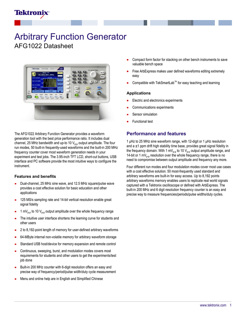 AFG1022 Arbitrary Function Generator Datasheet