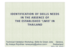 Technical Validation Workshop, Skills for Green Jobs By Areeya