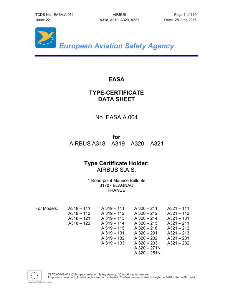 European Aviation Safety Agency EASA TYPE