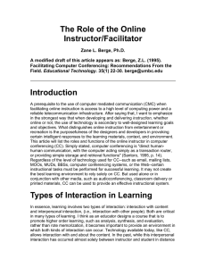 The Role of the Online Instructor/Facilitator