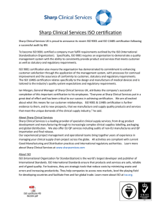 Sharp Clinical Services ISO certification