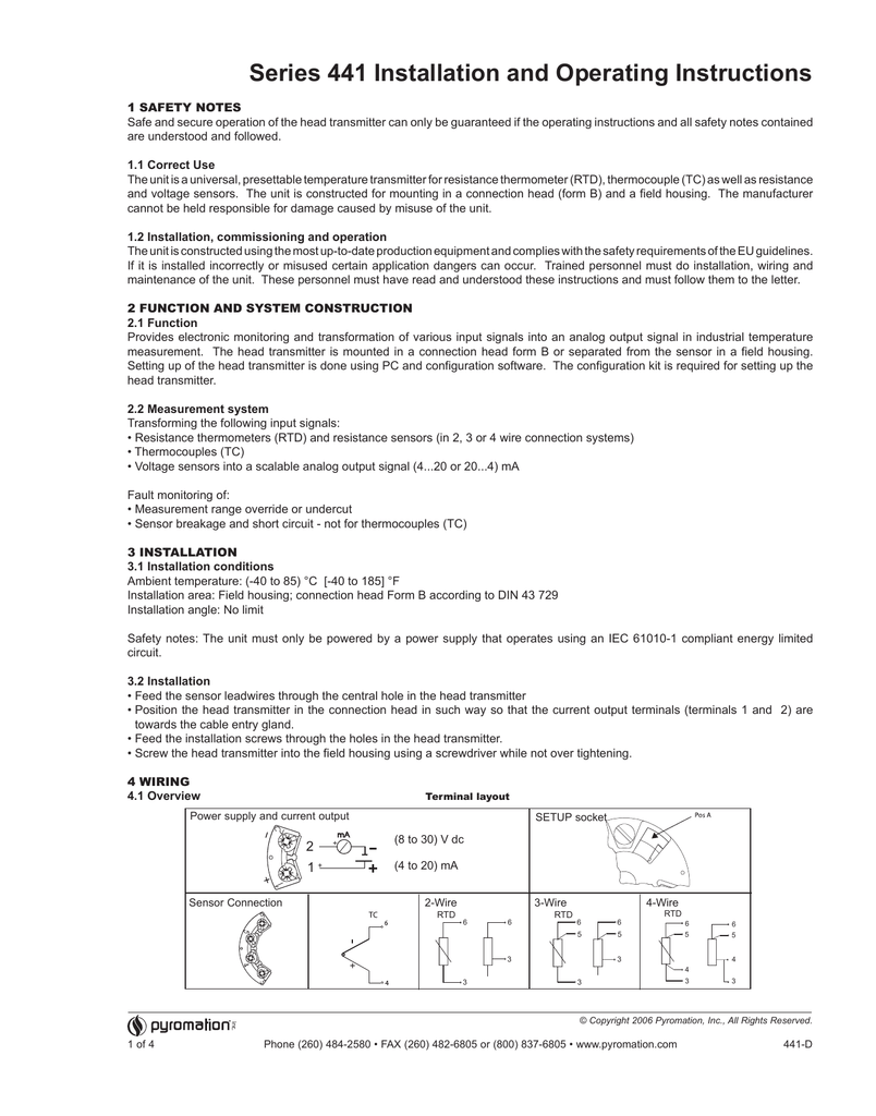 Series 441 Installation And Operating Instructions
