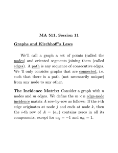 MA 511, Session 11 Graphs and Kirchhoff`s Laws We`ll call a graph