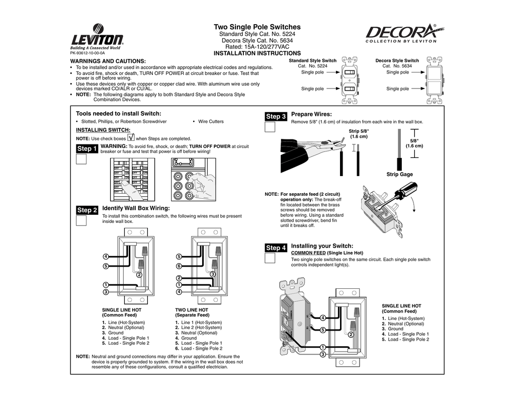 two single pole switches Two Light Switch Wiring Diagram