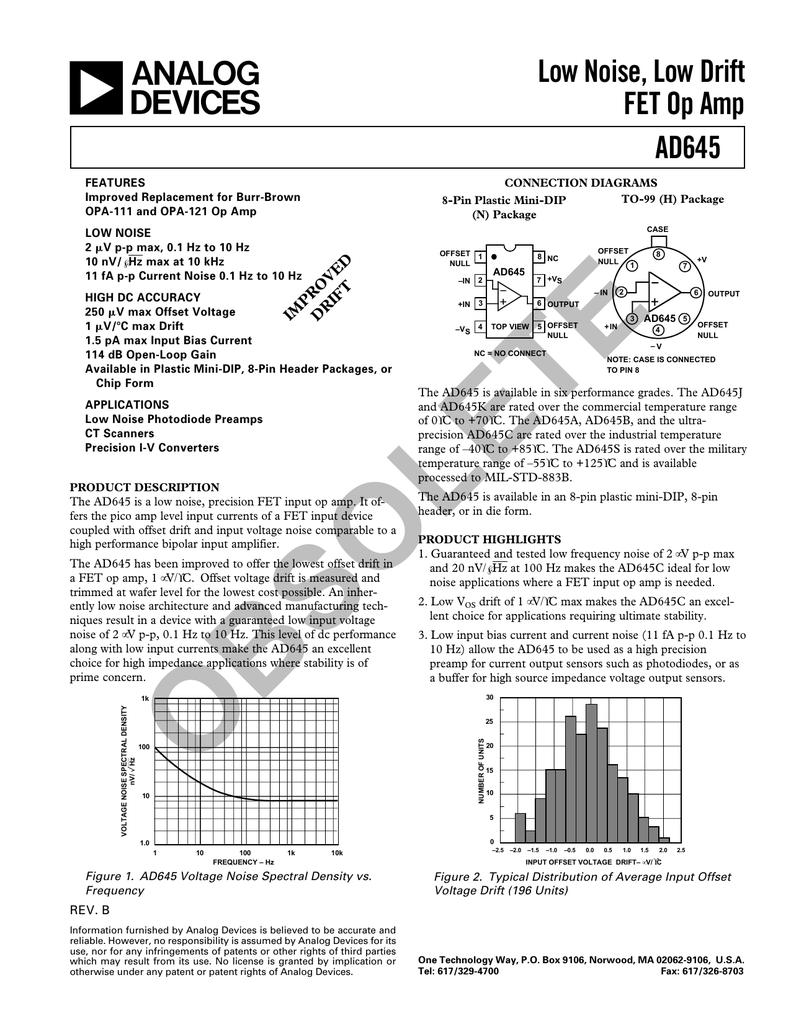 Low Noise Drift Fet Op Amp Data Sheet Rev B Transimpedance Amplifier Signal To Noise2