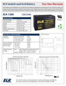 ELK Sealed Lead Acid Battery Two-Year Warranty ELK-1280