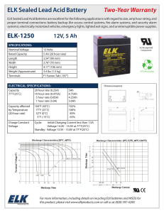 ELK Sealed Lead Acid Battery Two-Year Warranty ELK-1250