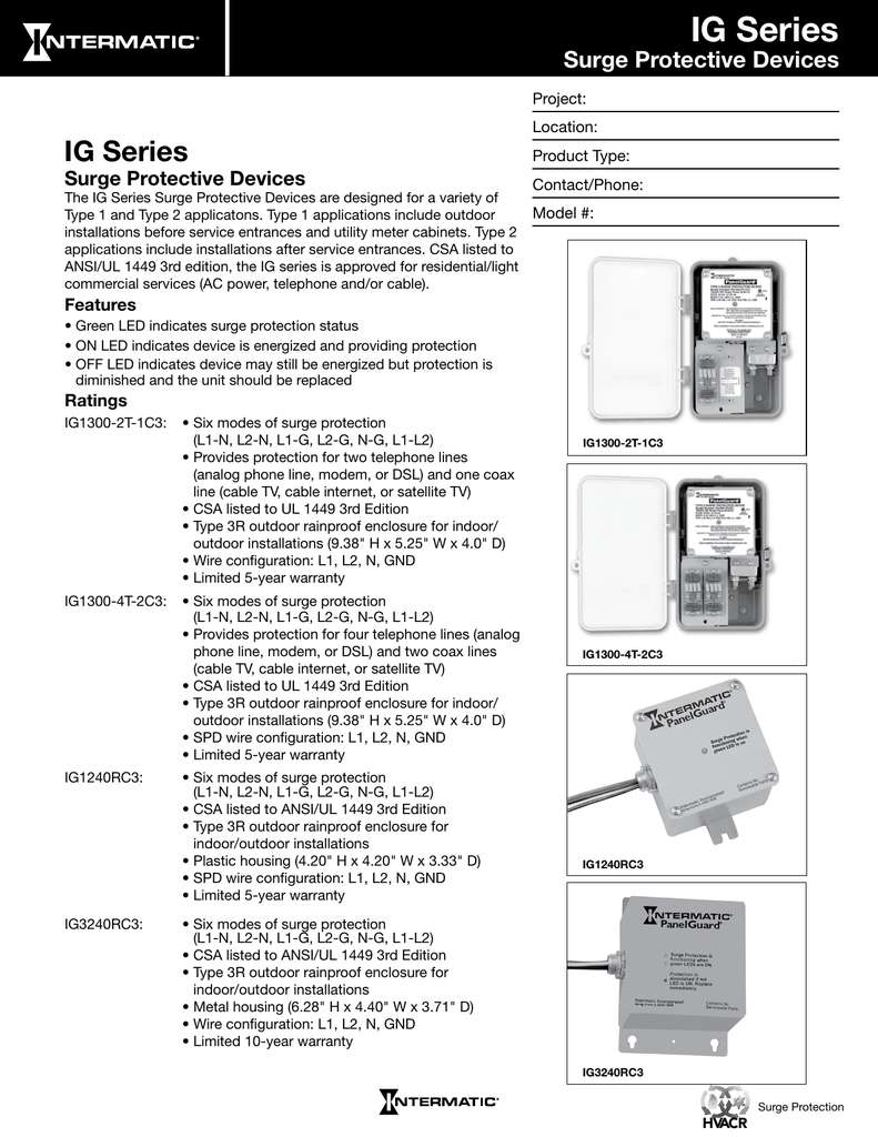 Ig Series Intermatic Surge Protection Device Wiring Diagram