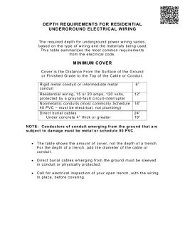 depth requirements for residential underground electrical wiring