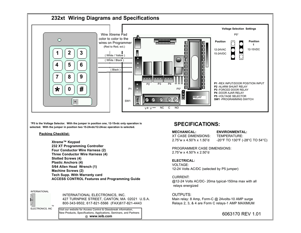 Specifications 232xt Wiring Diagrams And 1 2 3 Ac Dc Diagram