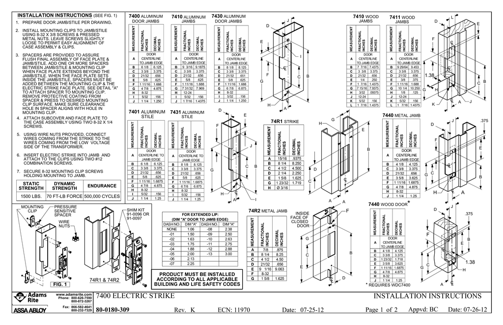 Installation Instructions - Adams rite 7400 wiring diagram
