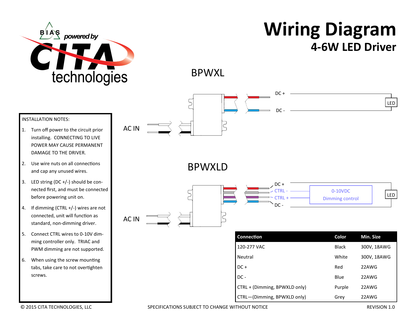 wiring diagram 4-6w led driver bpwxl dc + led dc installation notes: 1   turn off power to the circuit prior installing  connecting to live power  may cause