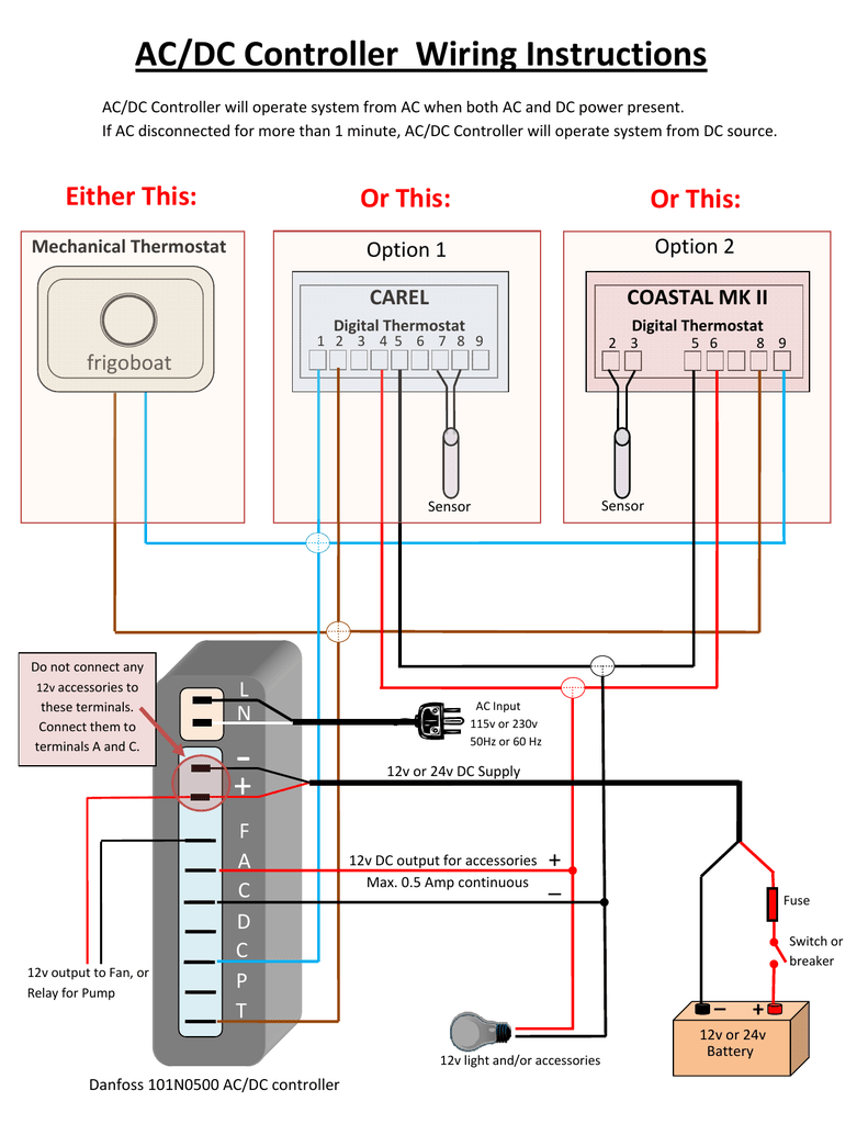 [SCHEMATICS_4ER]  AC/DC Controller Wiring Instructions + - Coastal Cool-Aids | Ac Dc Light Wiring |  | Studylib