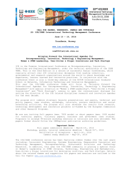 CALL FOR PAPERS, WORKSHOPS, PANELS - ICE