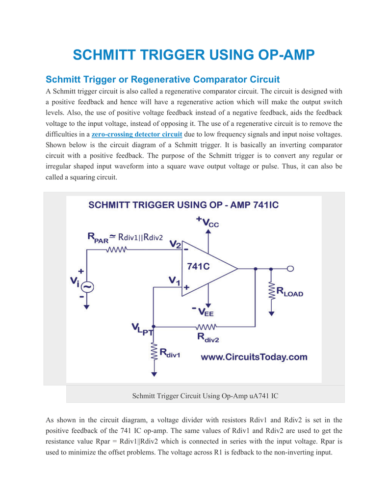 Schmitt Trigger Using Op Amp Or How To Use Opamp Ic 741 As A Comparator Electronic Circuit Projects