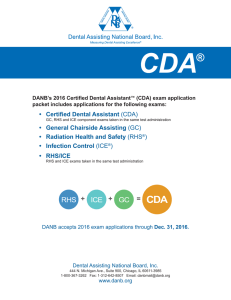 (CDA) Application Packet - Dental Assisting National Board