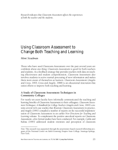 Using Classroom Assessment to Change Both Teaching and Learning